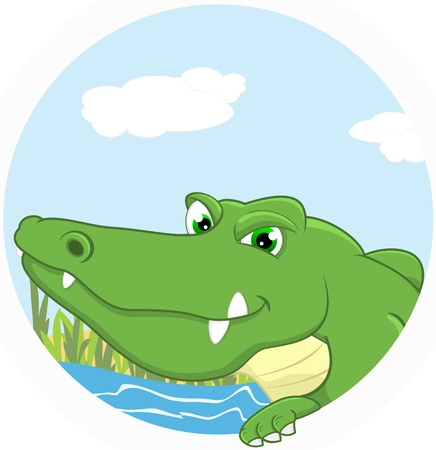 Vector Illustration Of Crocodile Vector