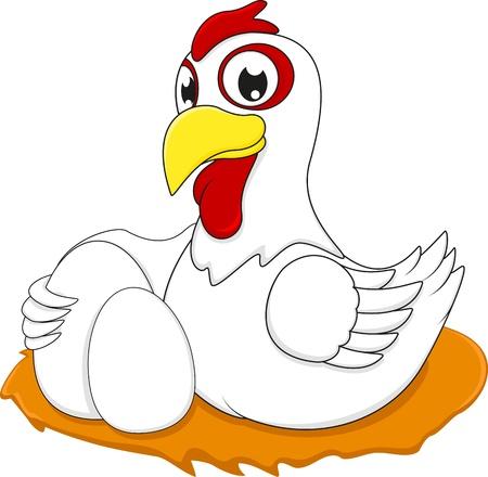 chiken: White Chiken With Egg Illustration
