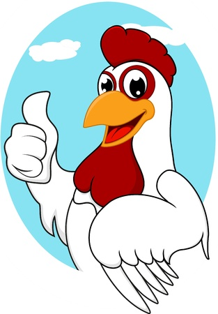 White Chicken Mascot Vector