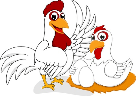 Happy Chicken Family Vector