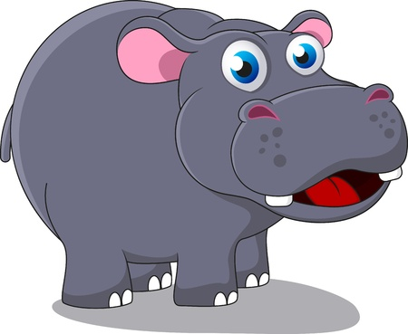 Happy Cute Hippo Vector Illustration
