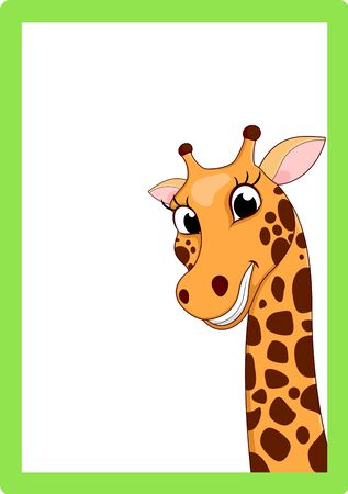 Giraffe Cartoon On Frame Vector