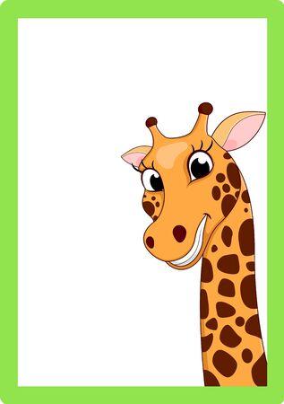 giraffe frame: Giraffe Cartoon On Frame Illustration