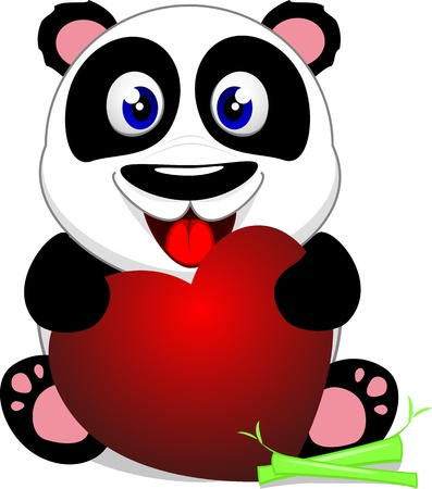 Cute Baby Panda With Heart Vector