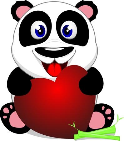 �  giant panda: Panda linda del beb� con el coraz�n Vectores
