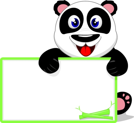 one panda: Cute Baby Panda With Blank Sign Illustration