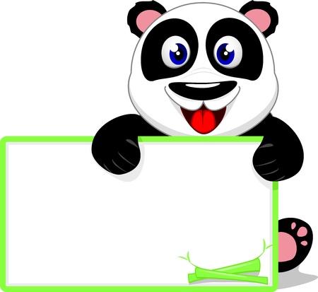 �  giant panda: Panda beb� lindo con la muestra en blanco Vectores