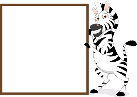 Happy Zebra With Blank Sign Vector