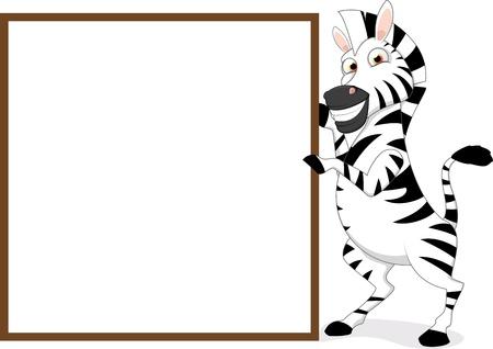 Lycklig Zebra Med Blank Sign