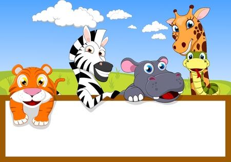 Zoo Animal Mit Blank sign Vektorgrafik