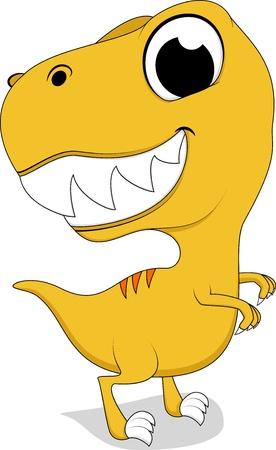 tyrannosaurus rex: Vector Illustration Of Cute Yellow Rex Dinosaur Illustration