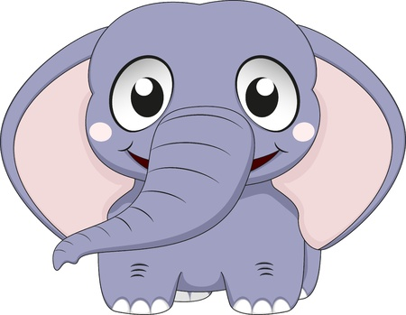 Vector Illustration Of Cute Elephant Baby Vector