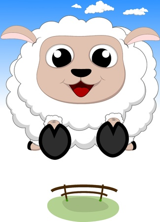 Vector Illustration Of Happy Sheep Jump Vector
