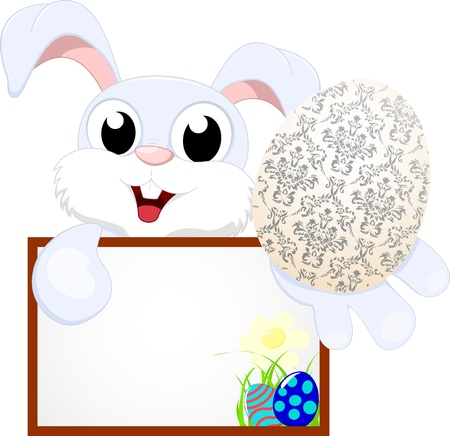 holding blank sign: Vector Illustration Of Easter Bunny With Egg With Blank sign