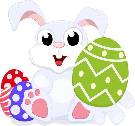 silhouette lapin: Vector Illustration de mignon lapin avec oeuf de Pâques Illustration