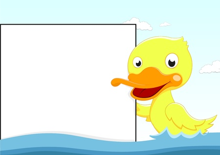 Vector Illustration Of Duck with Blanksign Illustration