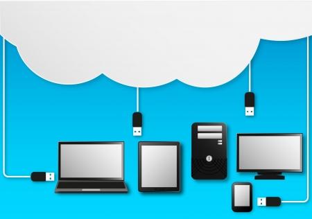 server: Illustrazione Vettoriale Di Cloud Computing