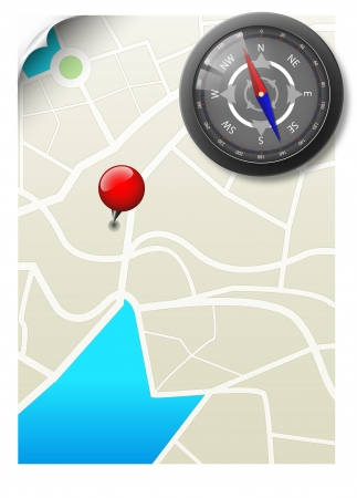 Black Compass With Map Vector
