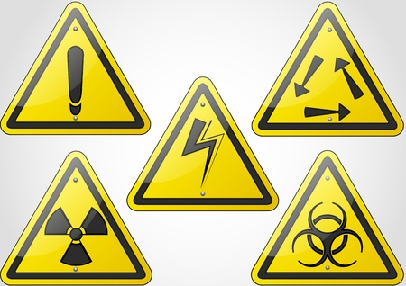 caution chemistry: sign symbol set