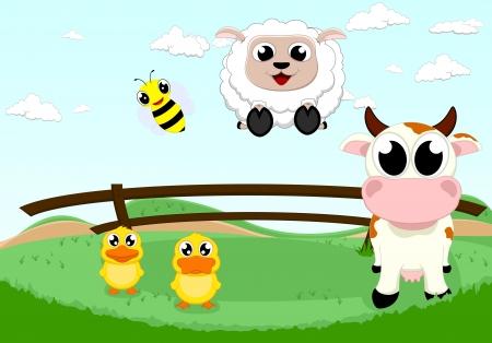 happy farm animal Vector