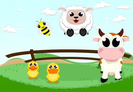 piebald: happy farm animal Illustration