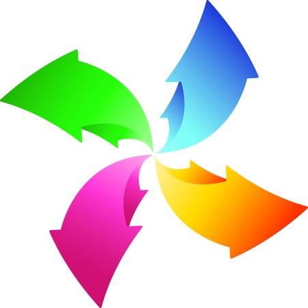diminishing point: round arrows Illustration