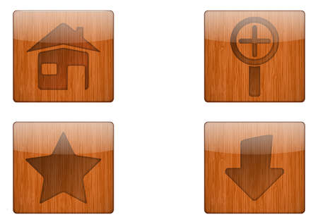 Wooden Button Icon Stock Vector - 18366930