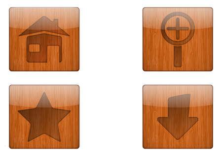 Wooden Button Icon Stock Vector - 18366930