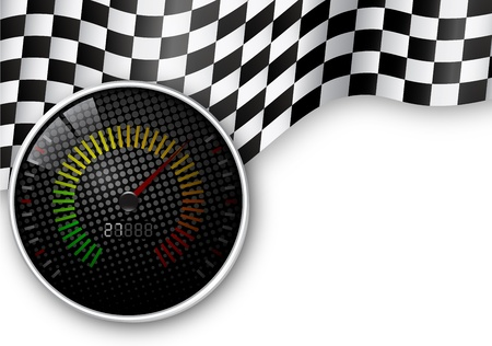 Speed Meter and Checkered Flag Background