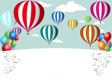 sky line: Hot Air Balloon Celebration Illustration