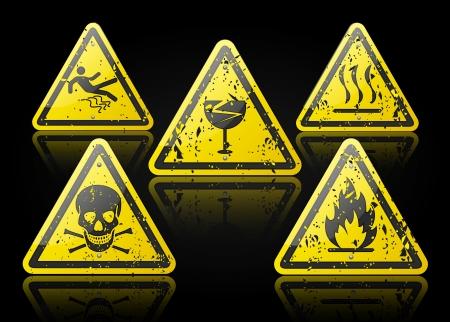 hazard stripes: Vector Illustration Of Old Danger sign
