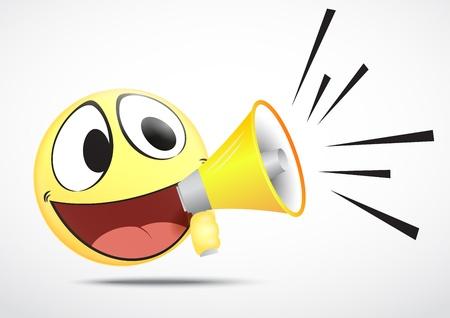 laugh emoticon: Vector Emoticon with Speakerphone