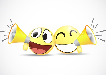 Emoticon with speaker  business commerce concept