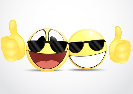Emoticon Wearing Glasses with Thumb  business commerce Stock Vector - 19497254