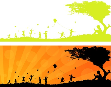 Happy Children Playing in the Sun Header  Vector