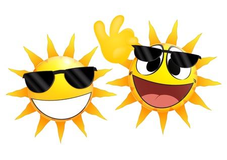 sol caricatura: Emoticon sonriente sol sostiene vidrios
