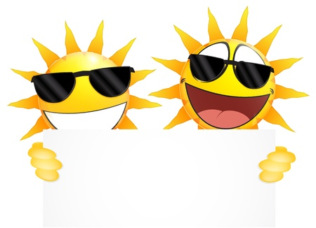 sun sign: Smiling sun Emoticon holding a Blank sign