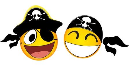 Emoticons Pirate Ilustração