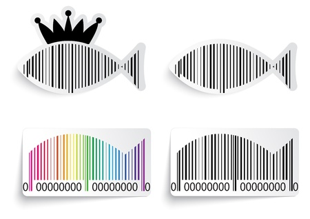 Bar code fish label set  Vector