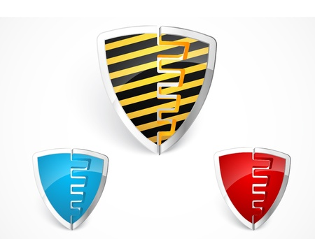 Warning shield merge with yellow stripes  Stock Vector - 19807821