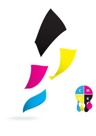 digital printing: Flying paper CMYK color design