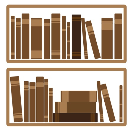 Vector Illustration Of Books On shelf