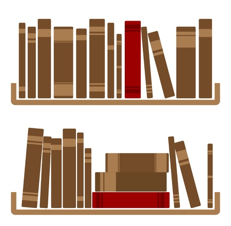 Illustration Of Different red Books On shelf  Illustration