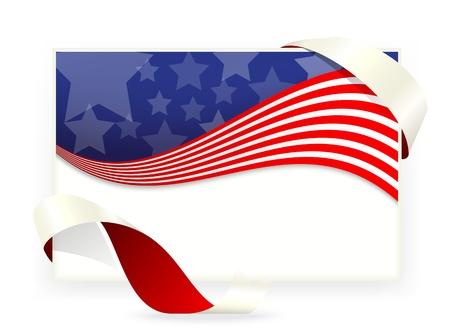 patriotic border: Vector ilustraci�n de la bandera, las tarjetas de visita americanas Vectores