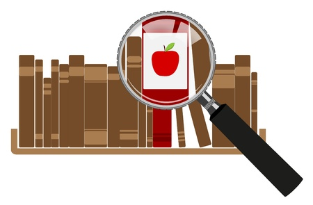 Illustration Of red books with magnifying glasses  Vector