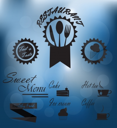 Menu poster on glass  Vector