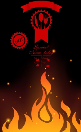 Restaurant menu design with flame Stock Vector - 20353618