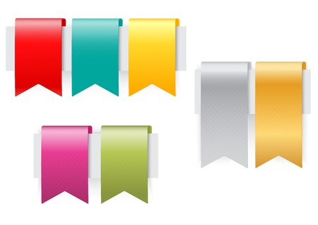 Ribbon set on white background  Vectores