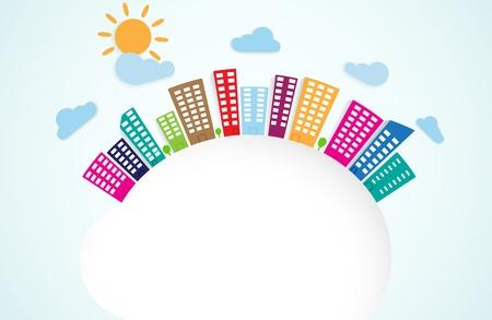 colorful urban scene on circle Stock Vector - 20353678
