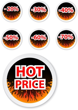 hot deal: Illustration of Hot price stickers. with fire flame  Illustration
